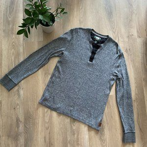 Roots Grey Long-Sleeve Half-Button Down Sweater
